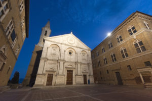 Pienza (Siena, Tuscany, Italy), square of the cathedral by night